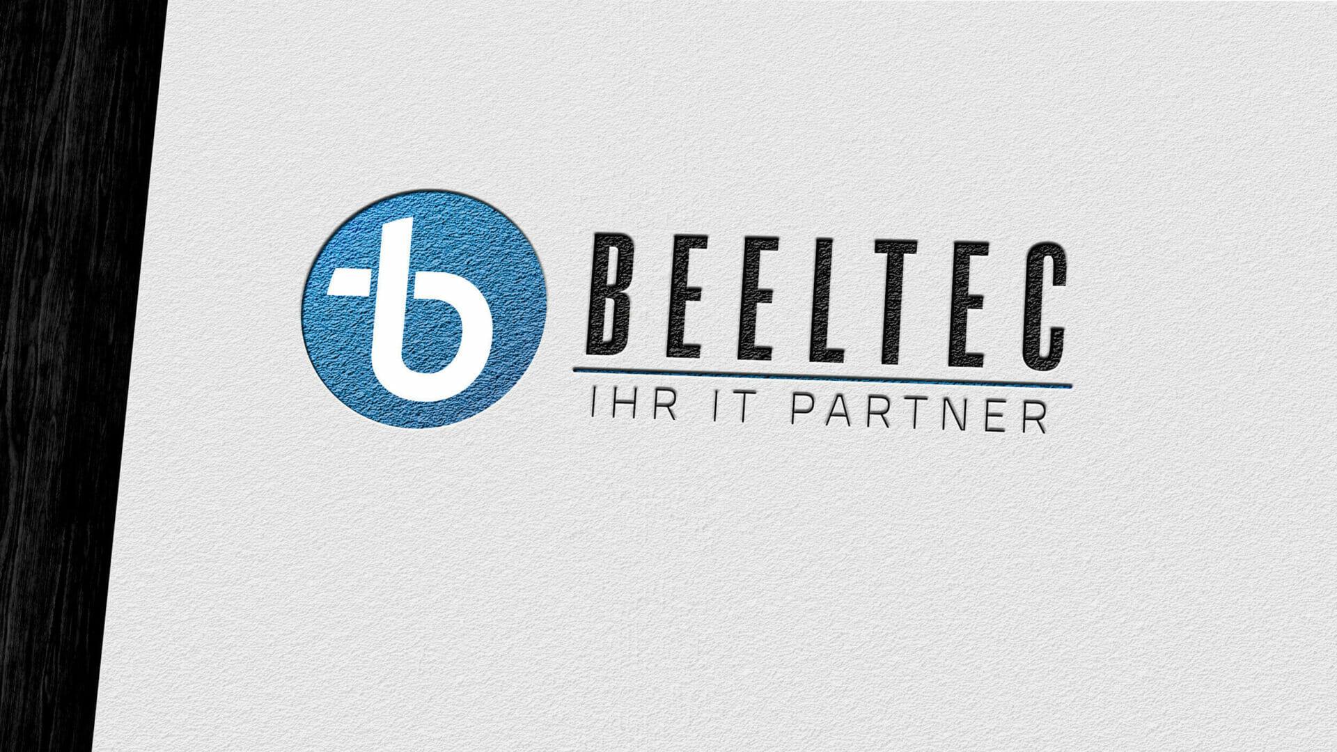 gestanztes Logo der Firma Beeltec auf einem Briefbogen