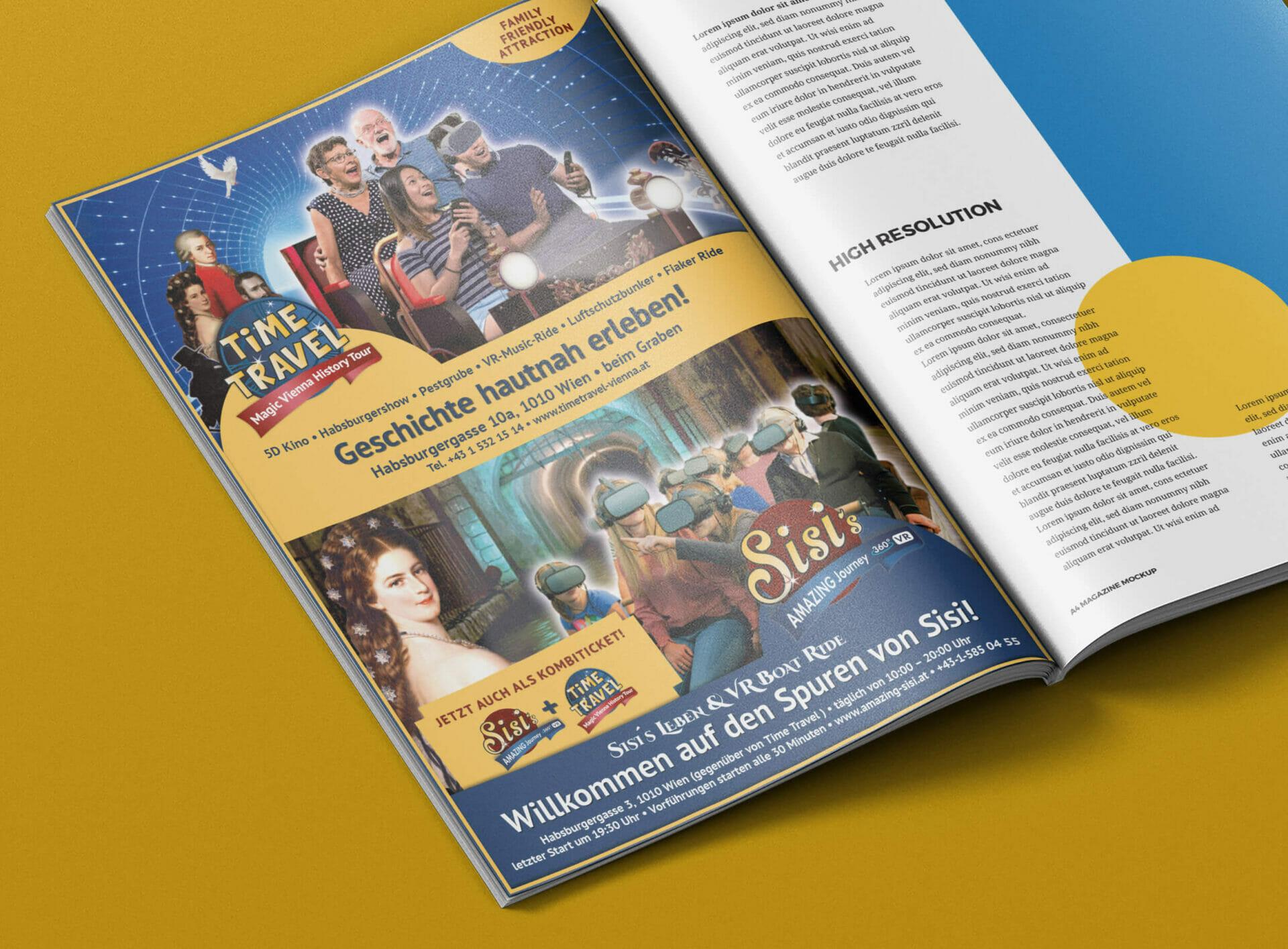 Magazin mit A4-Inseratgestaltung für Time Travel Vienna