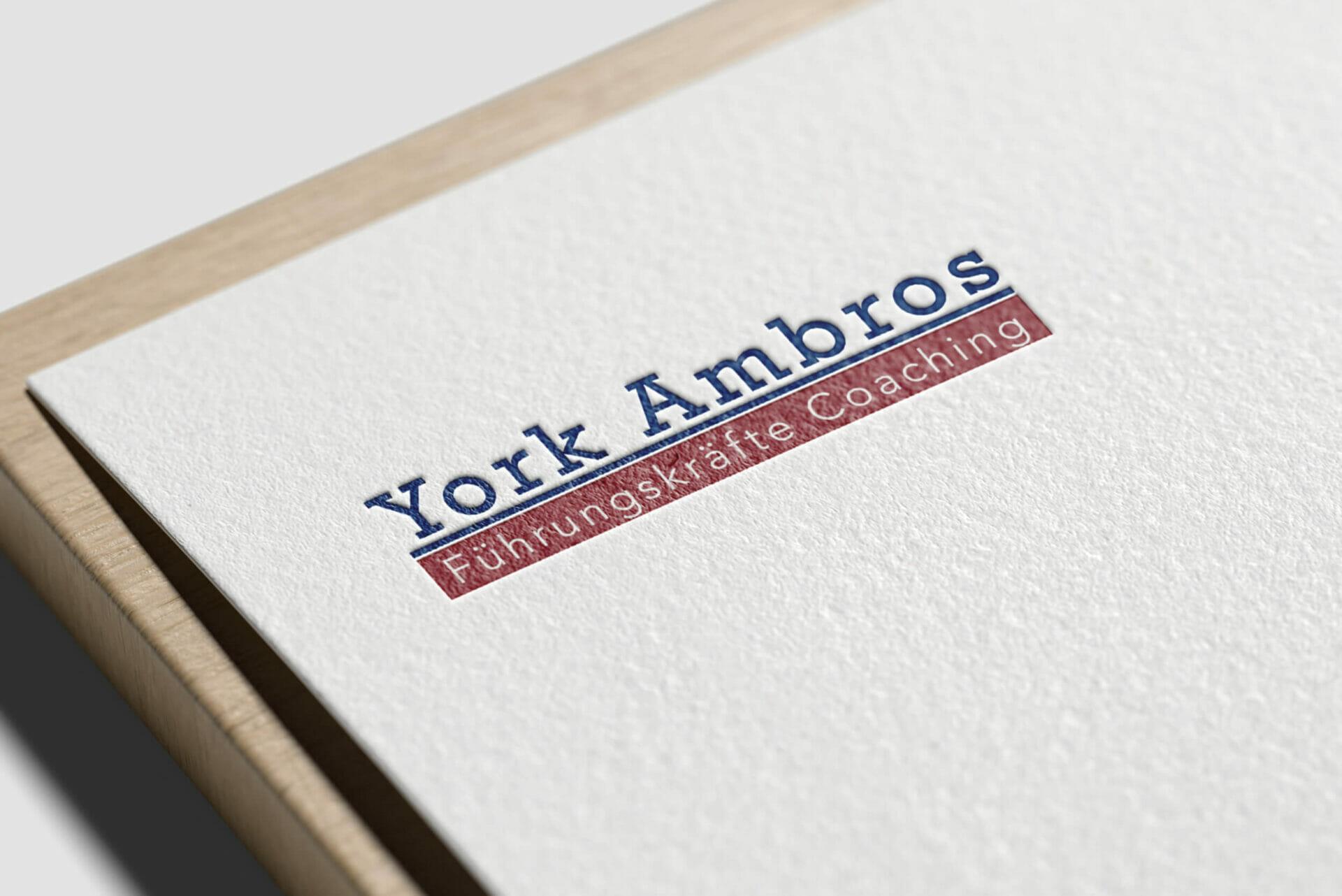 Logodesign der Firma York Ambros auf Geschäftspapier